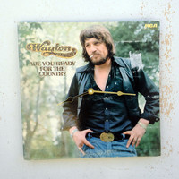Clock, Record Clock, Record Cover Art Clock, Wall Clock, Waylon Jennings Record Cover, Recycled, Upcycled Gift Item #22