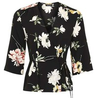 Dragon Floral Wrap Blouse