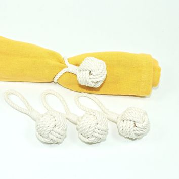 Bulk Pricing Monkey Fist Knot Napkin Rings, Set of Four