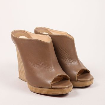 HCXX Taupe and Ash Brown Peep Toe Stacked Heel Leather Mules
