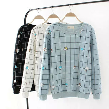 Plaid And Clouds Print Sweater
