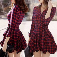 New Fashion Women Winter Dresses Plaid V-neck Party Elegant Evening Classical