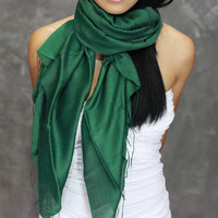 Green Scarf - Silk Cotton Scarf - Hand Painted Scarf, infinity, shawl, green wrap, headband, perfect birthday present - JooJoobs