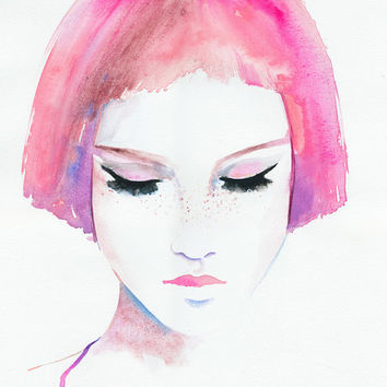 Print of Watercolor Fashion Illustration. Titled - Roze Freckles