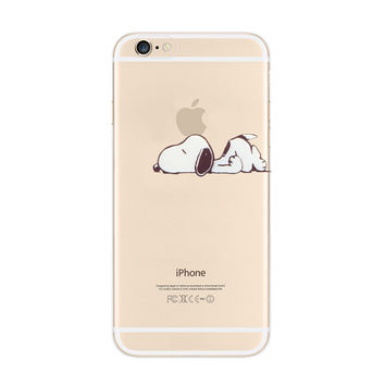 Snoopy Lazy Nope Sleep iPhone 6s 6 Plus SE 5s 5 Soft Clear Case