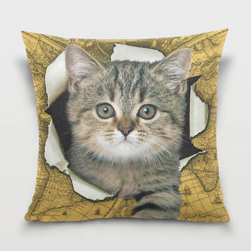Cute Kitten Pillow Cover Cat Throw Pillow Kitten Pillowcase Vintage Cat Map Decor Sofa Decorative Pillow
