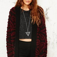 Staring at Stars Paisley 3D Cardigan in Burgundy at Urban Outfitters