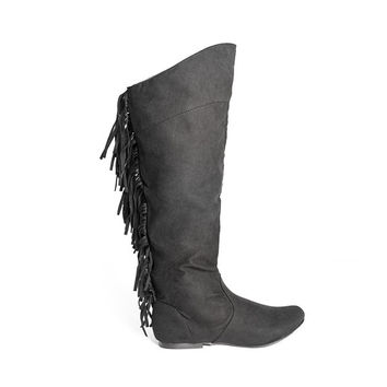 Mohawk Fringe Knee High Boots In Black