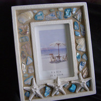 Shell Beach Frame, Starfish,  Blue Abalone Shell, Seashell, Shell Frame, Beach Decor, Photo Frame