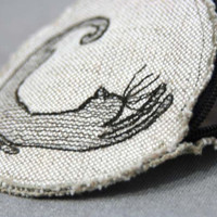 Linen Round Purse KusKats Cat