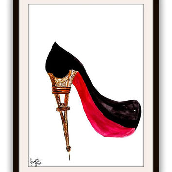 louis vuitton, Eiffel tower sole, lv heels, Wall Art decor, watercolor painting, decal decals, print, fashion, red, girl room decoration