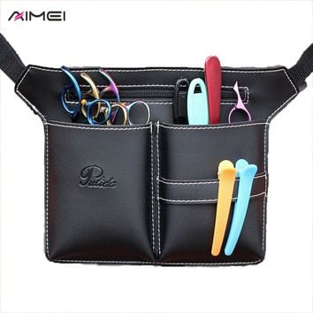 Hair Scissor Bag Hairdressing Tool Bag Barber Scissor Holster Pouch Clips Comb Hair Brush Case + Shoulder Belt Hair Tool Case
