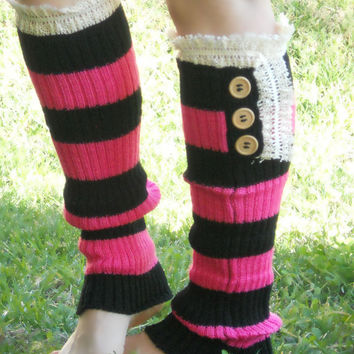 Ellie lace trim knit boot socks with buttons, leg warmers in two tone hot pink and black