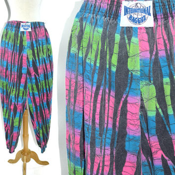 Vintage 80s International Baggyz Surfer Skater Workout Muscle Commando Graffiti Pants Sz M