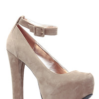 Nude Faux Suede Ankle Strap Chunky Platform Heels