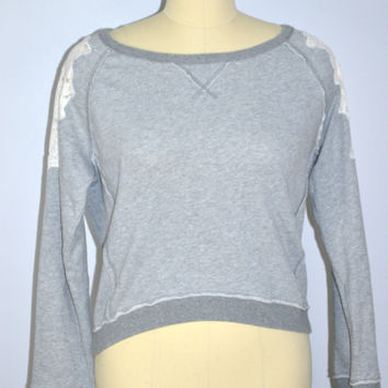 Free People Gray Sweat Shirt with Lace Shoulder Inset Size M/L