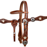 Saddles Tack Horse Supplies - ChickSaddlery.com Showman Tooled Headstall Set With Cowhide Inlay