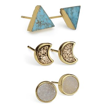 Turquoise Mineral Earring Set