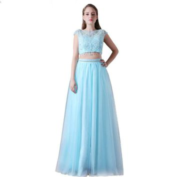 Light Blue Tulle Beaded A-line Party Long Evening Dress