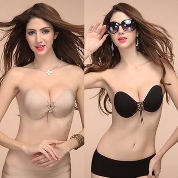 Women Bra Top Self Adhesive Strapless Stick Gel Silicone Push Up Invisible Bra