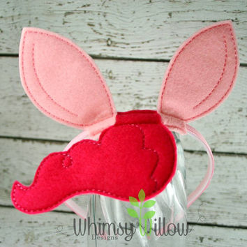 Pinky Pony Headband Ears ITH Embroidery Design