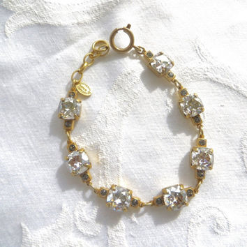 Catherine Popesco Crystal Bracelet, Matte Gold, Faceted Swarovski Crystal Stones, Made in France