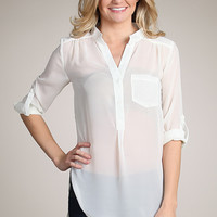 Ivory Sheer Roll Up Sleeve Blouse Top