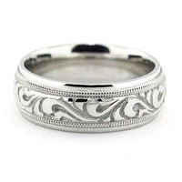 Men's Carved Wedding Band - Paisley