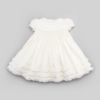 Smocked Corduroy Dress, Cream, 3-9 Months