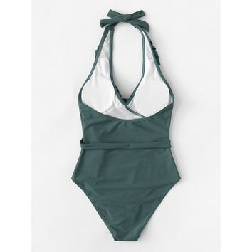 Women's Green V-Neck Halter Ruffle  Side Waist Tie One Piece Monokini Swimsuit