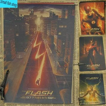 The Flash American TV Series Justice League Super Hero Home Furnishing decoration Kraft Movie Poster Drawing core Wall stickers
