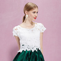 White Lace Embroidered T-shirt