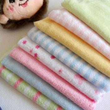 Hot Soft 8 Pcs Baby Kids Children Infant Boy Girl Bath Towel Washcloth Wipe  LS
