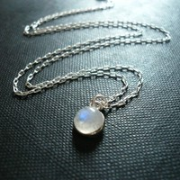 Tiny Moonstone Necklace in Sterling Silver - Sweet Gift, Dainty Everyday Necklace, Tiny Pendant Necklace