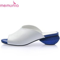 MEMUNIA 2018 Newest high quality ladies genuine leather shoes women sandals low heels solid color summer womens sandals