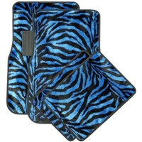 Oxgord Front & Back Seat Zebra/Tiger Stripe Carpet Mats for for Car/Truck/Van/SUV, Blue & Black