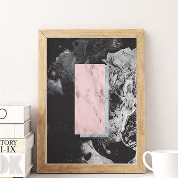 Black Marble, Pink Rectangle, Office Decor, Geometric Print, Marble Artwork, Modern Minimalist, Abstract Art Print, Wall Decor, Modern Print