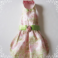 Dog Dress Garden Party Dog clothes puppy dresses pets on etsy Pink and Green floral