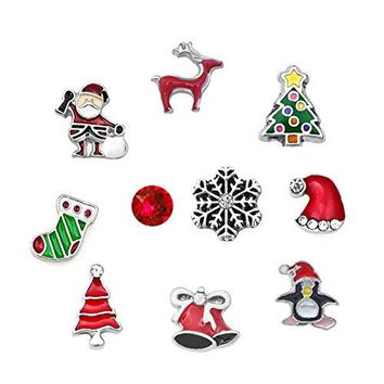 ShinyJewelry Christmas Floating Charms For Glass Living Memory Lockets Necklace amp Bracelets