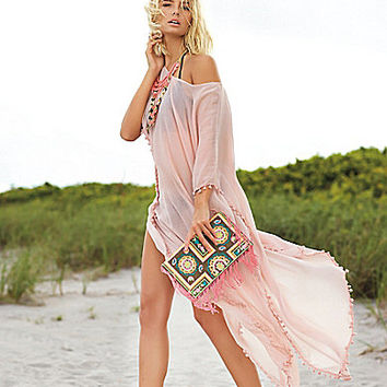 Elan Caftan Boat Neck Cover-Up Maxi Dress | Dillards.com