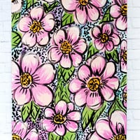 Boldest Floral 18x24 canvas panel pink flowers - floral canvas painting - floral art, bright flowers, girly bold painting, original painting