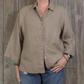 Nice Orvis XL 18 20 Brown Linen Blouse Aline Loose Fit Womens