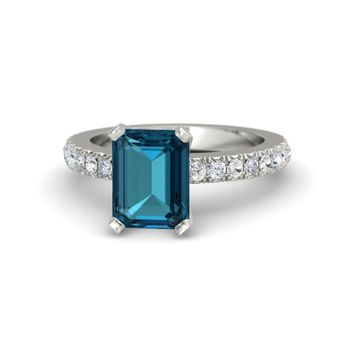 Emerald-Cut London Blue Topaz Platinum Ring with Diamond & White Sapphire