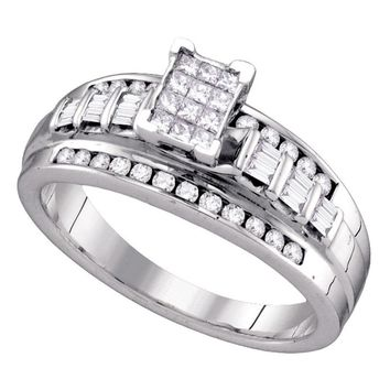Sterling Silver Womens Princess Diamond Cluster Bridal Wedding Engagement Ring 1/2 Cttw Size 6