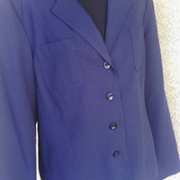 Sag Harbor Women's b;azer - blue - size 10 - poyester and rayon - 4 button front - shirt jacket - very dark navy blue - fully lined