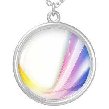 Abstract Swirl 1 Round Pendant Necklace
