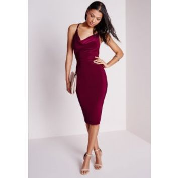 Slinky Cowl Front Midi Dress Burgundy - Dresses - Midi Dresses - Missguided