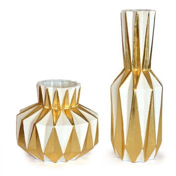 Golden Angles Vase - Set of 2