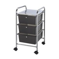 Blue Hills Studio 13-Inch by 26-Inch by 15-1/2-Inch Storage Cart with 3 Drawers, Smoke