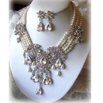 Bridal statement necklace earrings, vintage inspired Victorian pearl Swarovski crystal bib, wedding jewelry set